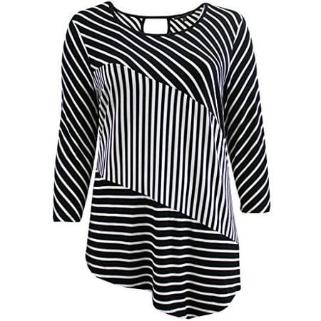 (Dreamer Plus Size Women Short Sleeve Asymmetrical Striped Keyhole Casual Top Black 1X (16.009))