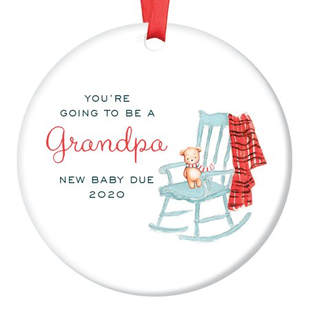 Soon To Be Grandpa Ornament in 2019, Pregnancy Reveal Christmas Ornament for Dad from Pregnant Daughter Son In Law Announcement Ceramic Present 3