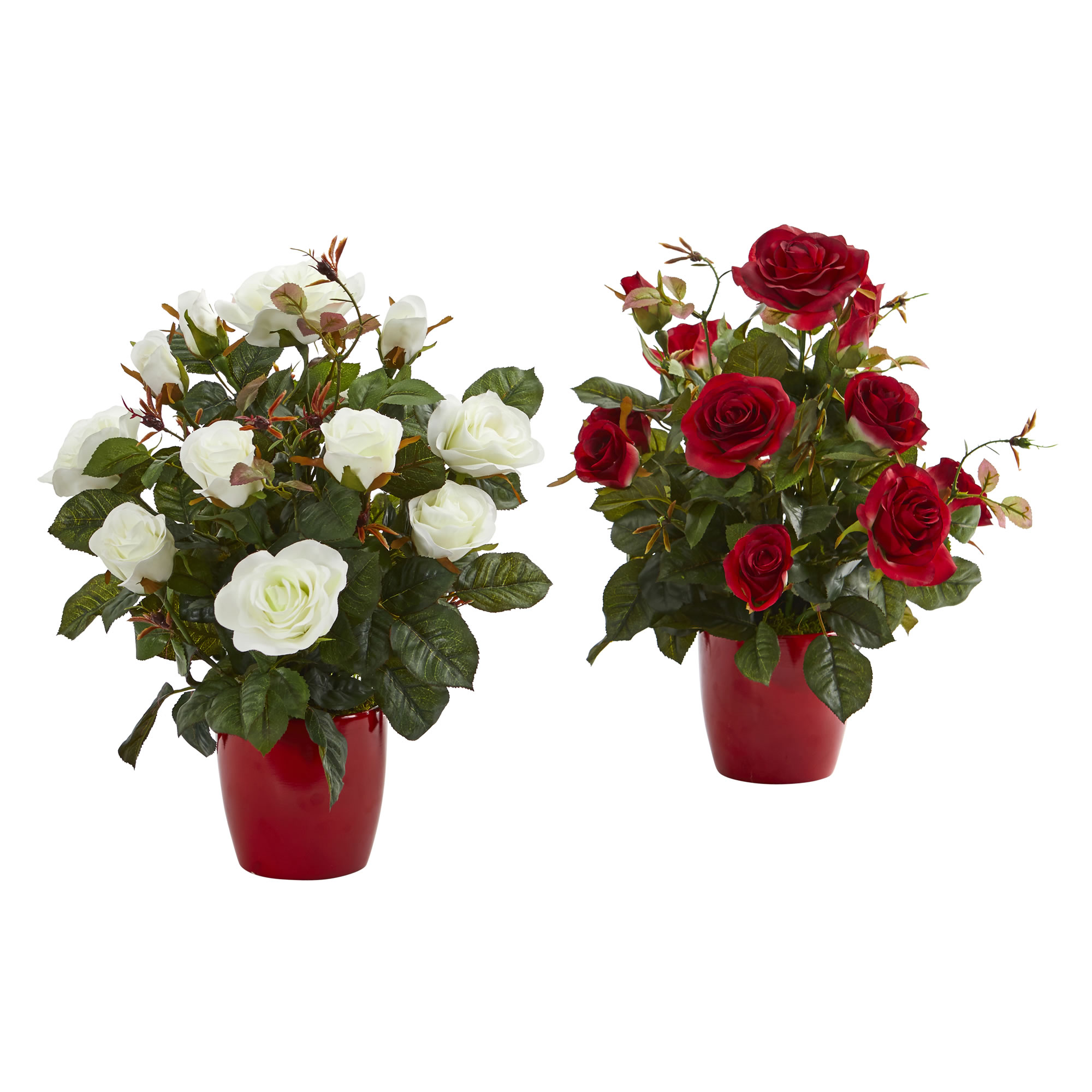 Nearly Natural Rose Artificial Plant in Red Planter (Set of 2)