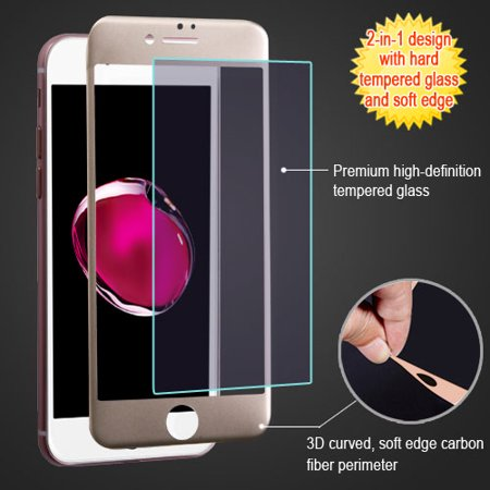 For iPhone 7 / 8 Plus Gold Edge Carbon Fiber Tempered Glass Screen Protector