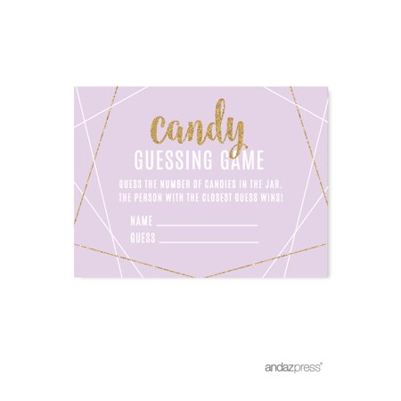 Signature Lavender, White, Gold Glittering Party, Candy Guessing Game Activity Cards, 30-Pack](Halloween Party Games Activities)