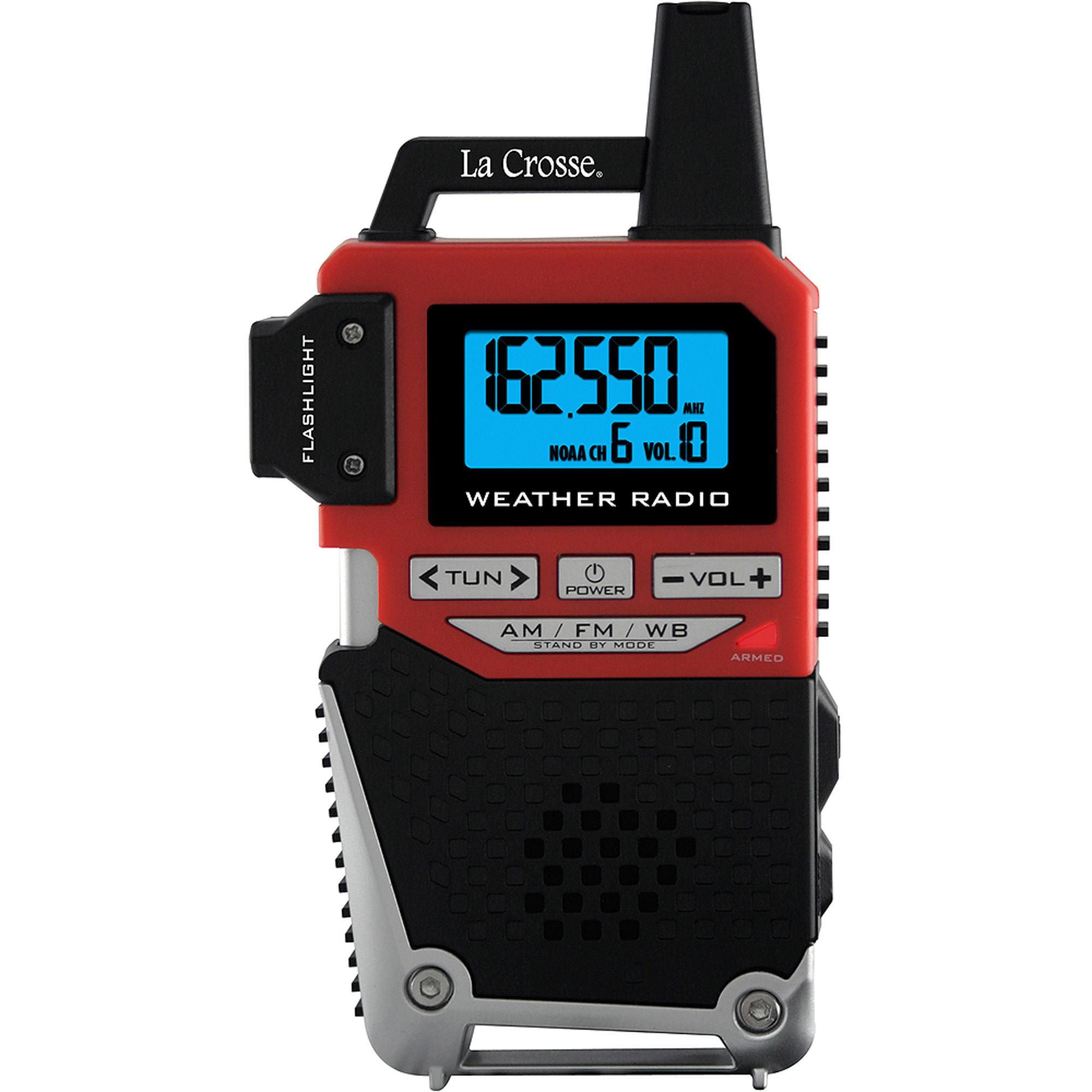 La Crosse NOAA Weather Alert Handheld Radio, Red/Black