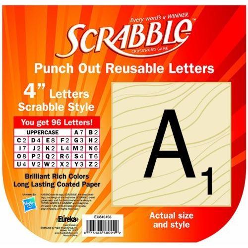 Eureka - Scrabble Letters, Deco 96 Letters. Punch Out Reusable Letters
