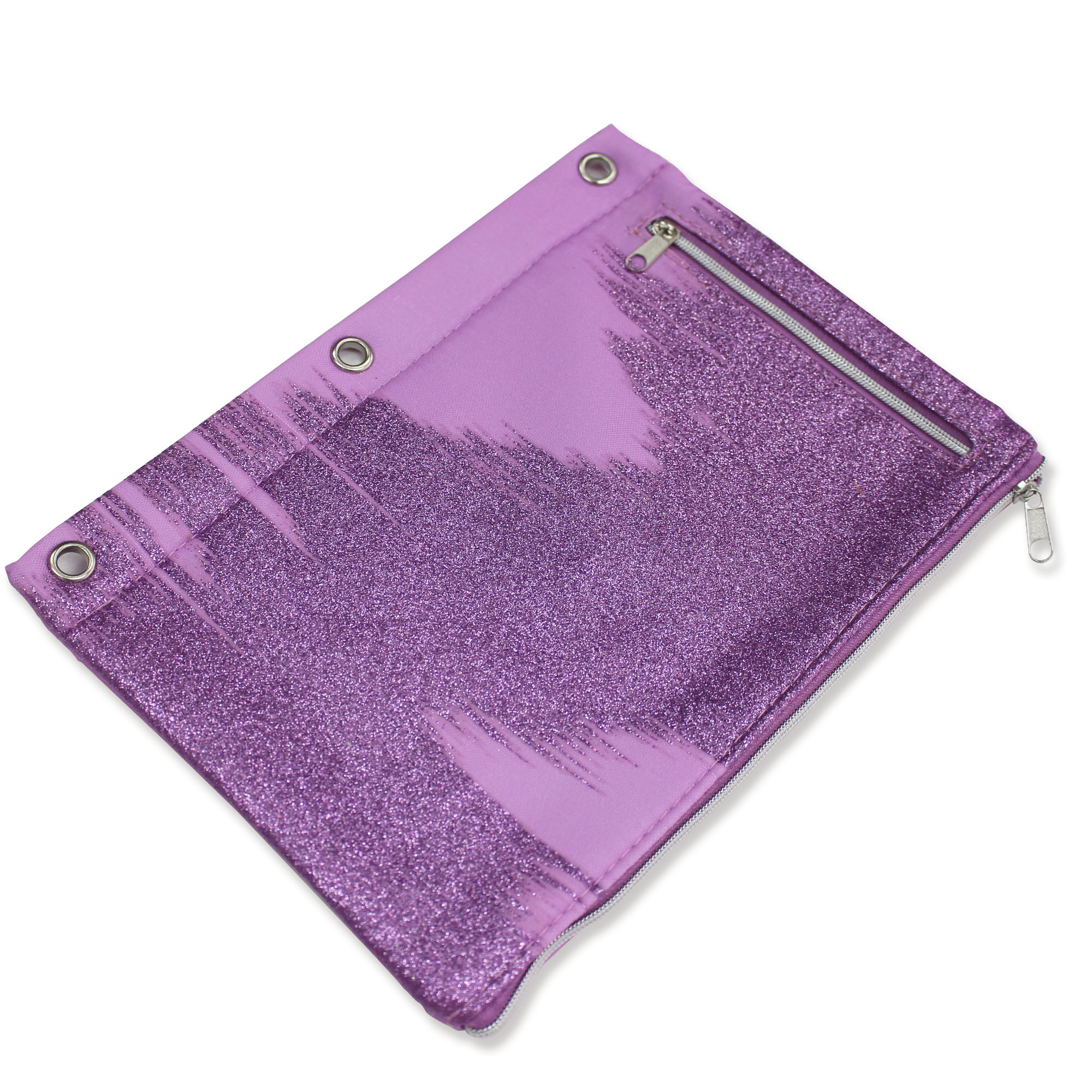 U Style Glitter Splash 3 Ring Binder Pencil Pouch, Violet with Glitter