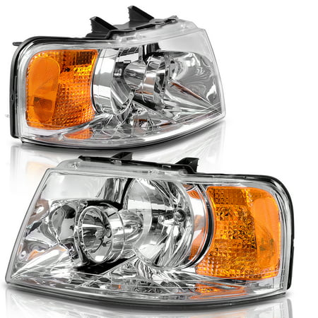 Headlights Assembly Replacement Direct Fit for 03-06 Ford Expedition Chrome Housing Amber Reflector (Passenger and Driver (Headlight Housing Fits Driver)
