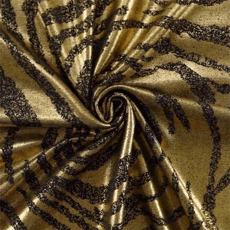 Black/Metallic Gold Zebra Print Tricot, Fabric By the Yard