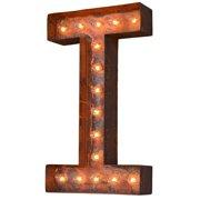 Trekshops Indoor/ Outdoor Commercial Grade Rusted Steel Alphabet Letter 'I' Iconic Profession/Commercial MarqueeLight