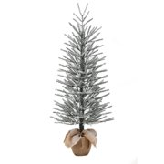 holiday time artificial christmas trees unlit 4 snow burlap artificial tree - Outdoor Artificial Christmas Trees