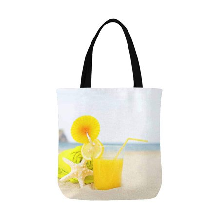 ASHLEIGH Orange Juice Drinks Starfish on Tropical Summer Beach Canvas Tote Bags Reusable Shopping Bags Grocery Bags Party Supply Bags for Women Men