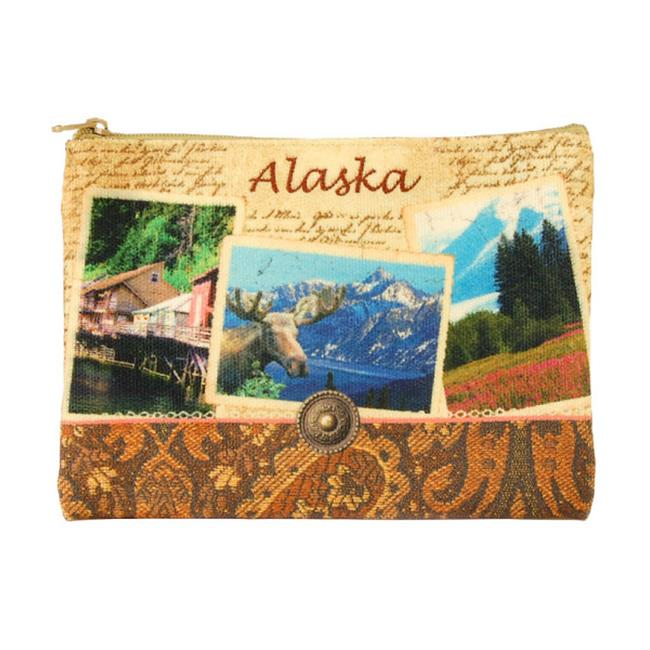Americaware ZPALA01 Alaska Vintage Print Zip Pouch - image 1 of 1
