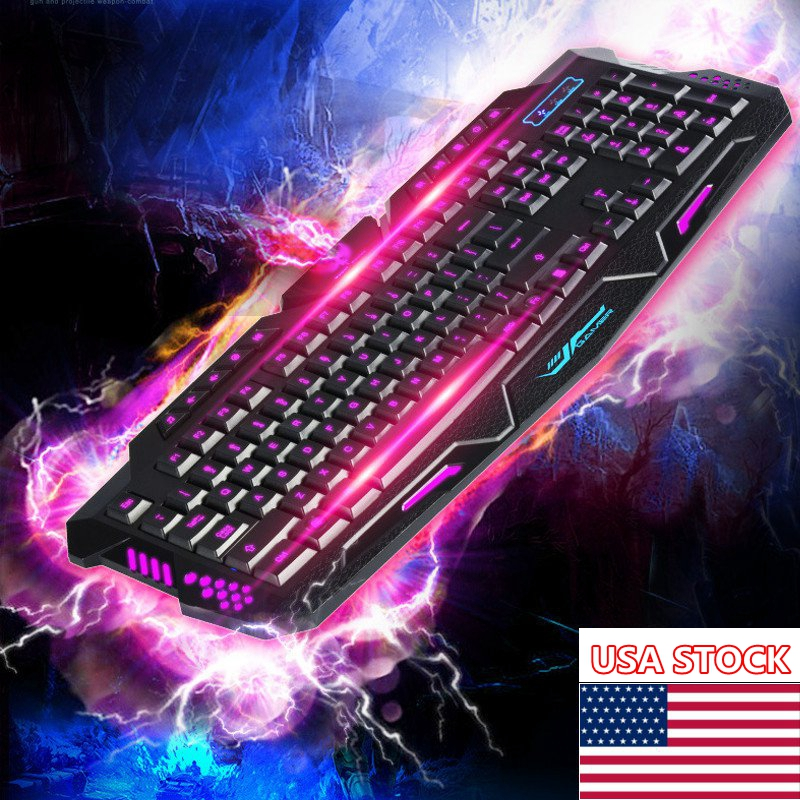 3 Color Cool Led Illuminated Backlight Usb Wired Gaming Keyboard Waterproof For Pc Laptop