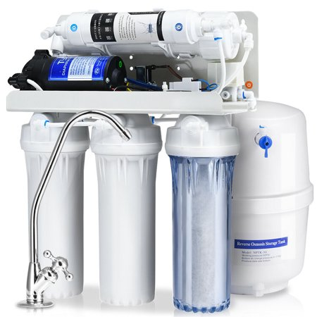 Goplus 5-Stage Ultra Safe Reverse Osmosis Drinking Water Filter System Purifier White Dishwasher Safe Filters