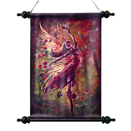 Design Toscano Autumn Fairy Canvas by Anne Stokes Wall Scroll Tapestry
