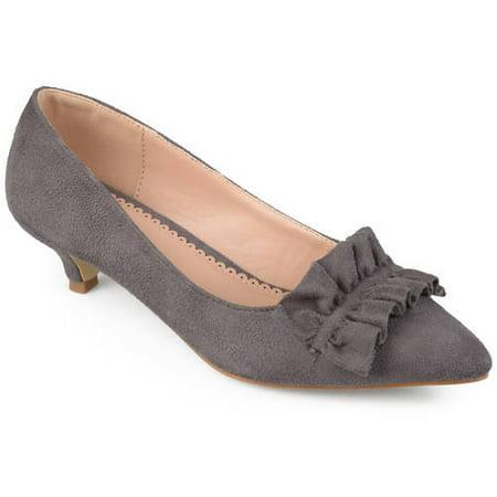 - Womens Faux Suede Ruffle Kitten Heels