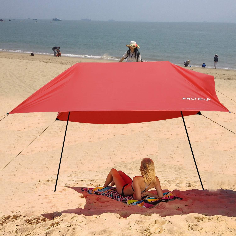 Portable 9.8 x 9.8ft Lightweight Beach Tent Outdoor Canopy SunShade Sun Shelter Folding