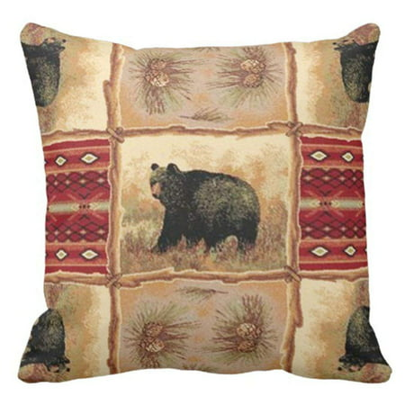 Bears Mvp Pillow - ARTJIA Southwest Rustic Cabin Lodge Bear Animal Print Pillowcase Throw Pillow Cover 16x16 inches