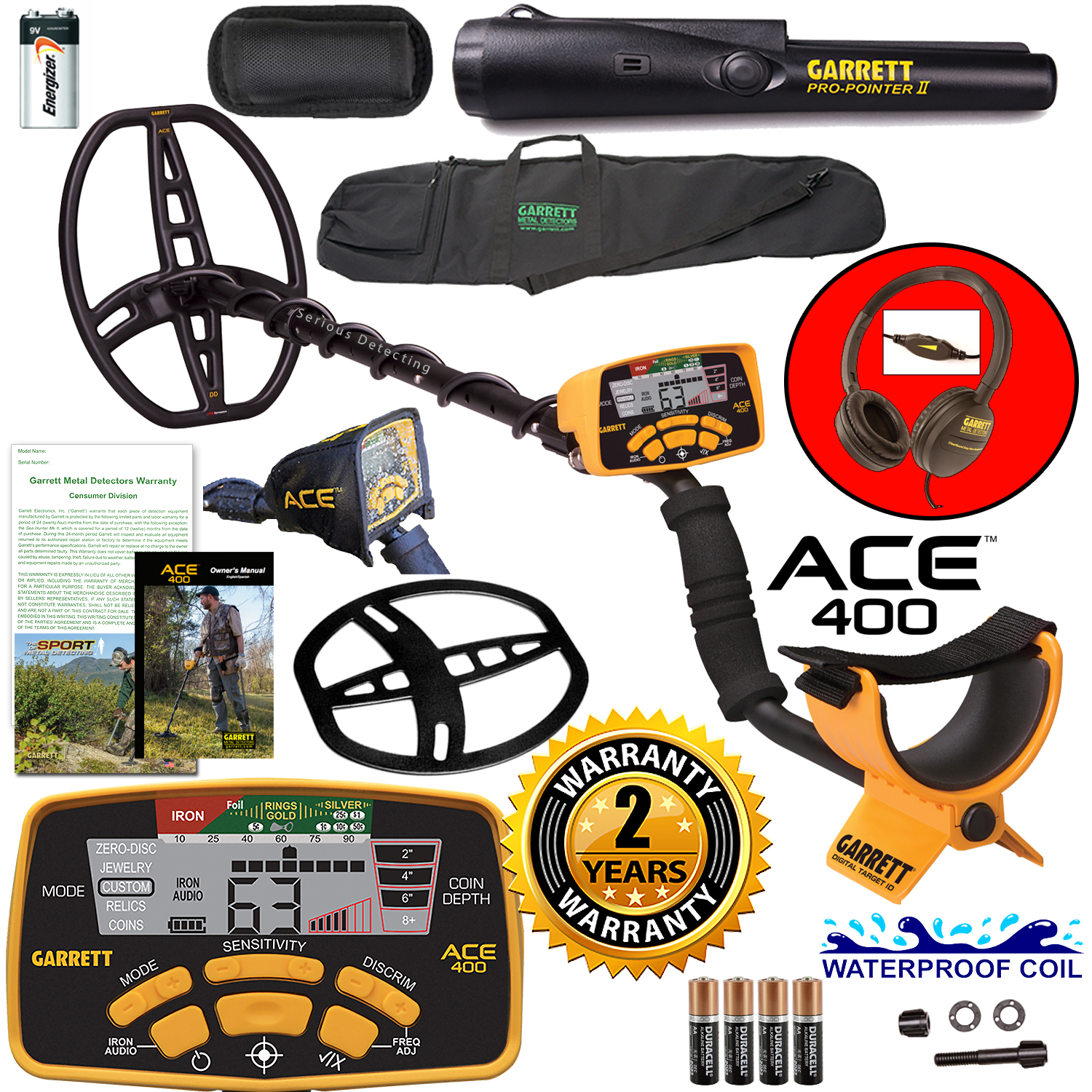 Garrett ACE 400 Metal Detector with Waterproof Coil Pro-Pointer II and Carry Bag by