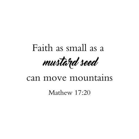 Faith As Small As A Mustard Seed Can Move Mathew 17:20 Christian Farmhouse Bible Scripture Wall Decor Sign, 48x30