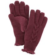Isotoner Womens Port Burgundy Cable Knit Gloves with Microluxe Lining