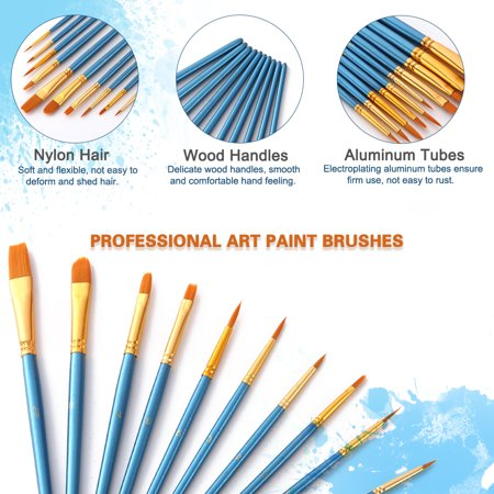 10pcs Blue Paintbrush Set Professional Art Paint Brushes Nylon Hair Wooden Handle for Artists Children Adults for Acrylic Oil Watercolor Gouache Face Nail Body Painting - image 4 of 7