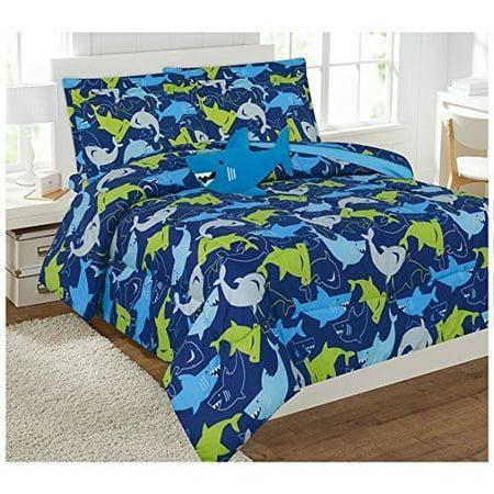 fancy linen 6pc boy twin size shark dark blue comforter set with furry buddy new. Black Bedroom Furniture Sets. Home Design Ideas