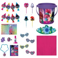 Party City Trolls World Tour Ultimate Party Favor Supplies for 8 Guests, Sunglasses, Tattoos, Tiaras, Pens, and Buckets