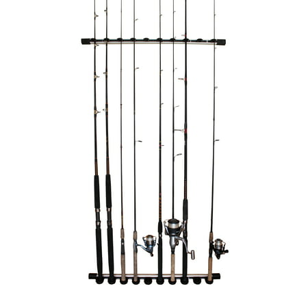 Rush Creek Creations 3 in 1 Aluminum 10 Fishing Rod/Pole Storage Wall/Ceiling Rack - Innovative Expansion Capability