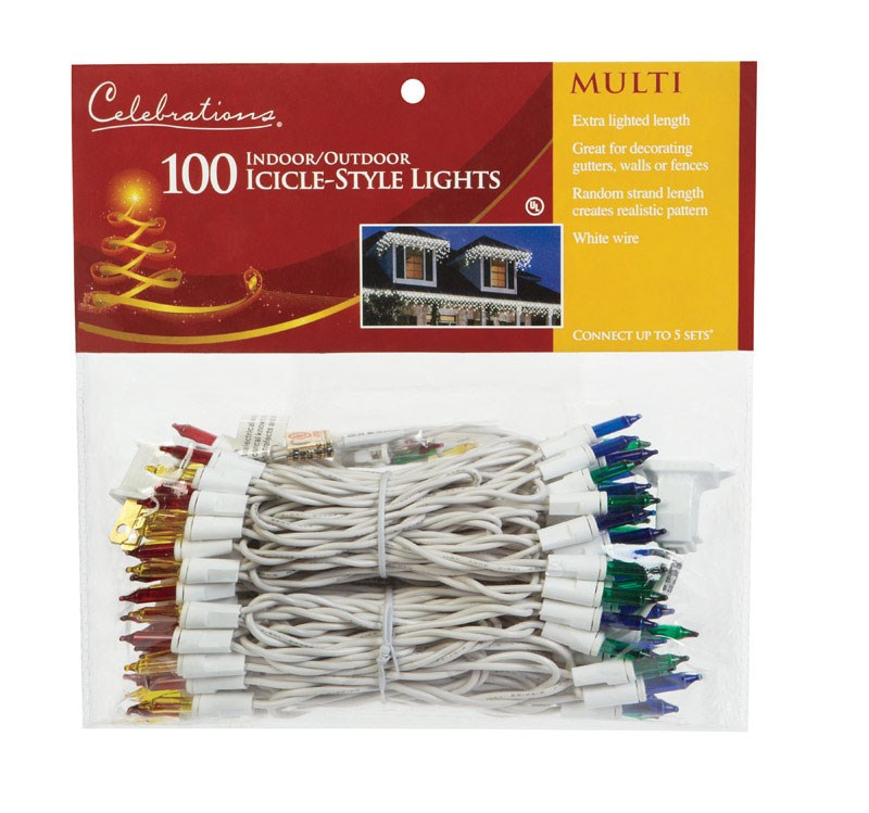 Celebrations 14089-71 Mini Icicle Light Set 300 Multi-color Lights 13