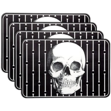 Sourpuss Boney Skull Table Placemats Black Skeleton Head Goth Punk Rock Set of 4 - image 1 of 1