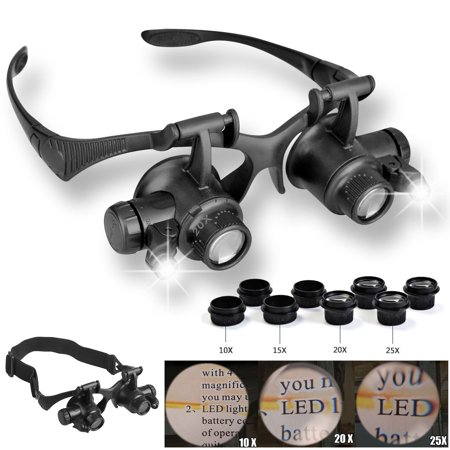 LED Magnifier Double Eye Loupe Glasses Jeweler Watch Repair 10X 15X 20X 25X