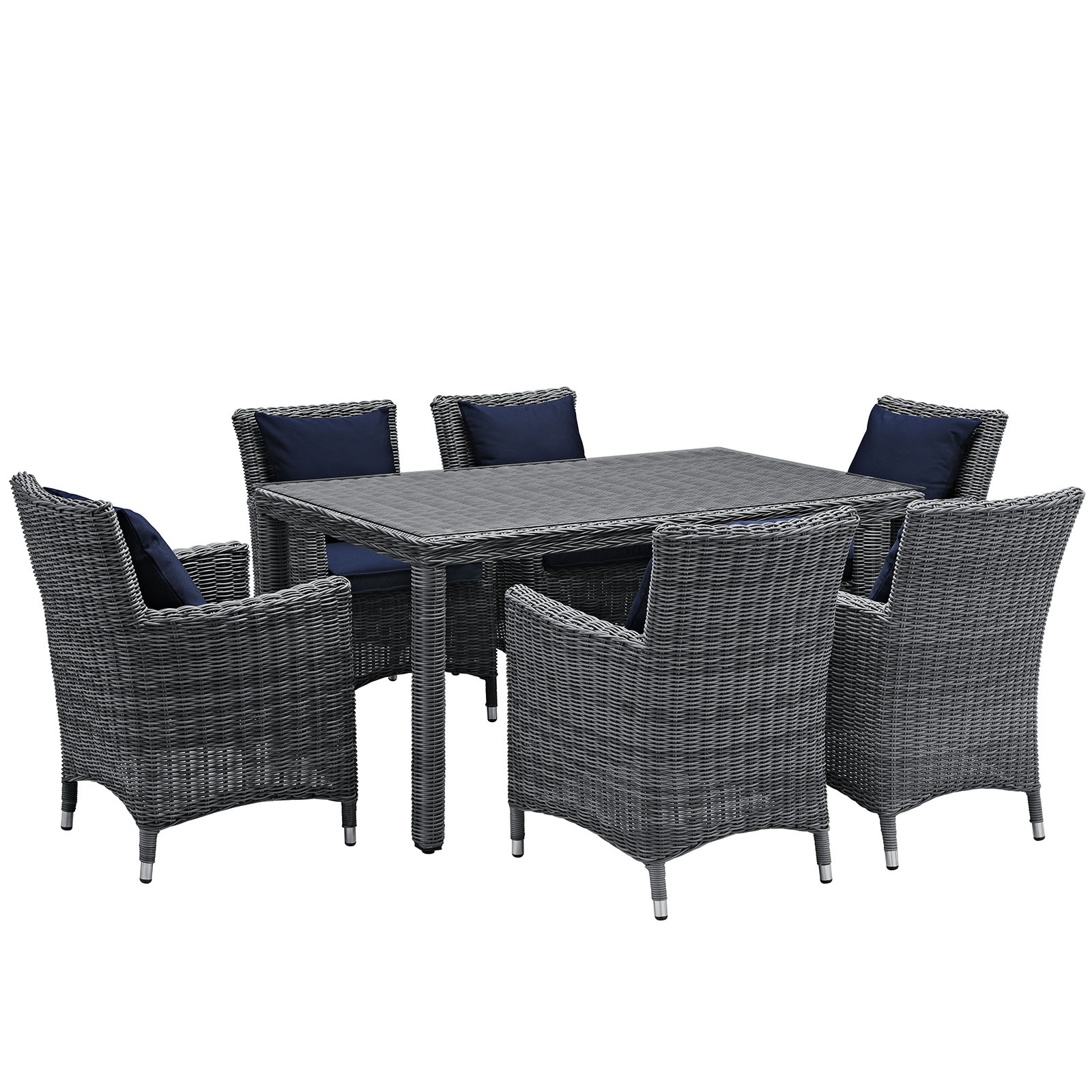 Modern Contemporary Urban Design Outdoor Patio Balcony Seven PCS Dining Chairs and Table Set, Navy Blue, Rattan