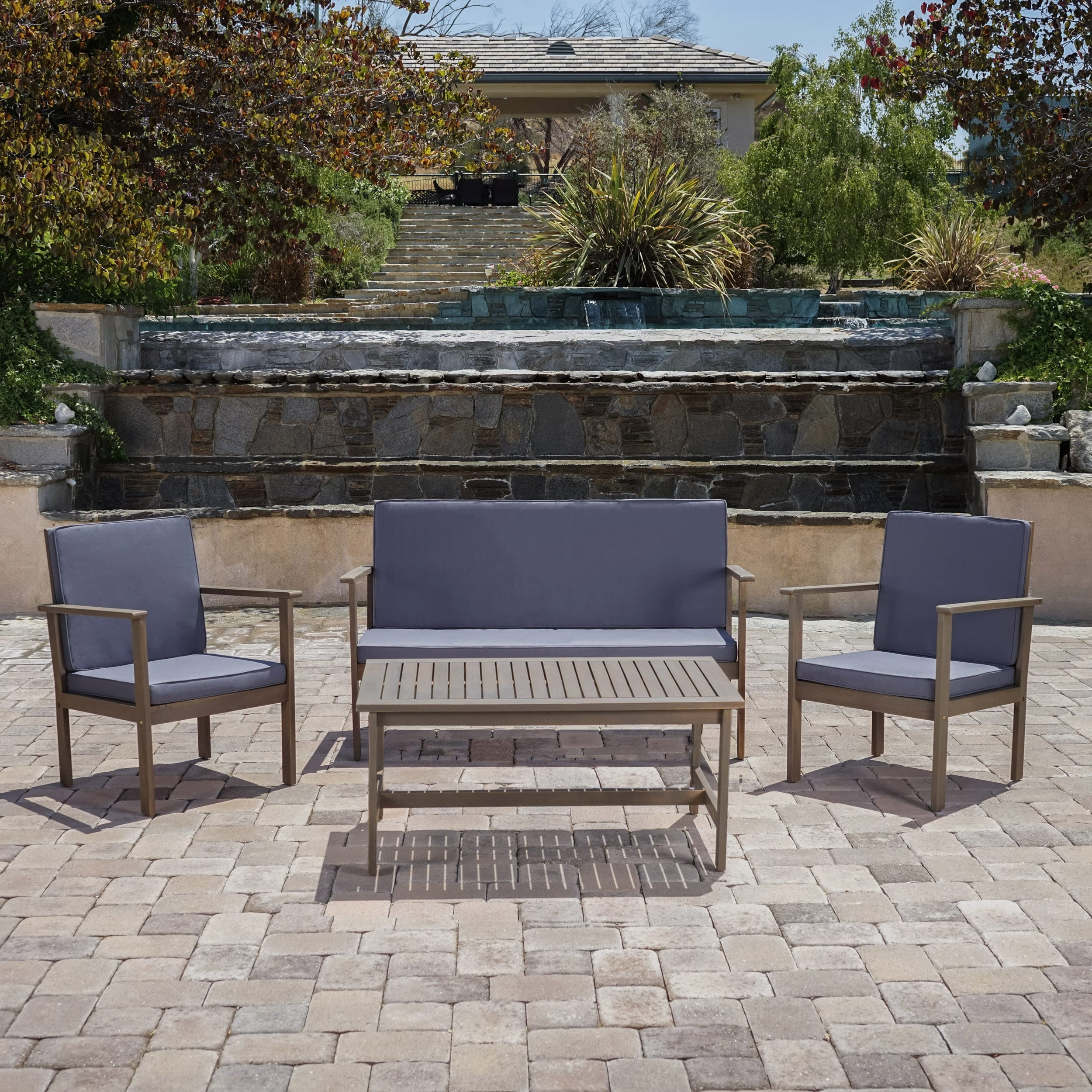 Christopher Knight Home Luciano Outdoor 4-piece Acacia Wood Chat Set with Cushions by