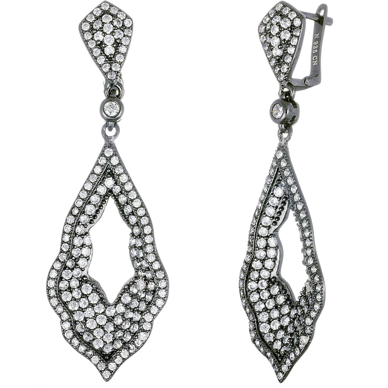 Lesa Michele Cubic Zirconia Black-Tone Sterling Silver Open Teardrop  Leverback Earrings