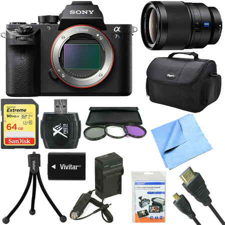 Sony a7S II Full-frame Mirrorless Interchangeable Lens Camera Body 35mm Lens Bundle includes a7S II Body, 35mm Prime Lens, 72mm Filter Kit, 64GB Memory Card, Bag, Beach Camera Cloth and More