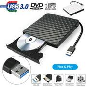 External DVD Drive USB 3.0, EEEkit Portable CD DVD +/-RW Optical Drive Burner Writer for Windows 10/8 / 7 Laptop Desktop Mac MacBook Pro Air iMac HP Dell LG Asus Acer Lenovo Thinkpad, Black