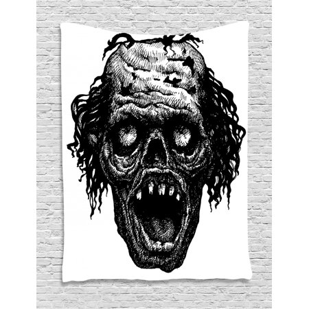 Halloween Scary Monsters (Halloween Tapestry, Zombie Head Evil Dead Man Portrait Fiction Creature Scary Monster Graphic, Wall Hanging for Bedroom Living Room Dorm Decor, Black Dark Grey, by)