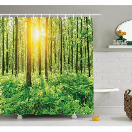 Woodland Decor Shower Curtain Set Forest Springtime Freshness Foliage Sunbeams Sunrise Nature View Scene Bathroom Accessories 69w X 70l Inches By