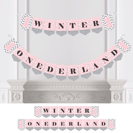 Winter Wonderland Birthday (Pink ONEderland - Holiday Snowflake Winter Wonderland Birthday Party Bunting Banner - Party Decor - Winter)