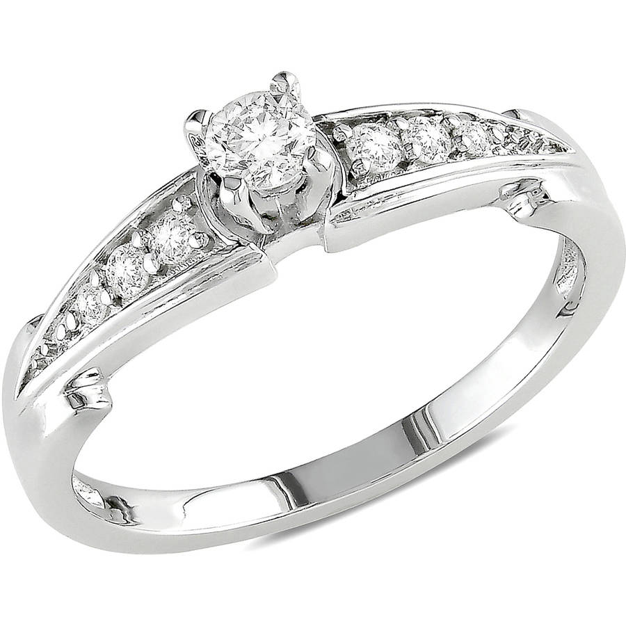 Miabella 1/4 Carat T.W. Diamond Sterling Silver Engagement Ring