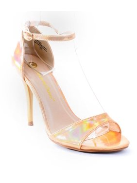 381fcf801d7 Product Image Gold Hologram Formal Open Toe Ankle Strap Heel Sandals. Fourever  Funky