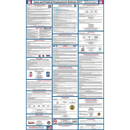 2017 Iowa State And Federal Labor Law Poster  Laminated