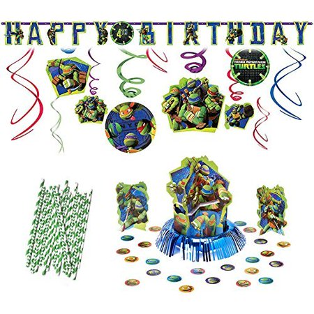 Teenage Mutant Ninja Turtles Party Decoration Supplies Pack Including Hanging Swirls, Table Decorating Kit, Jumbo Banner, and Straws](Ninja Turtle Party Decorations)