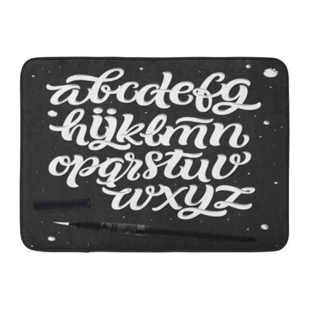 GODPOK White Handwritten Script Brush Modern Calligraphy Cursive Typeface Hand Lettering and Custom Alphabet ABC Rug Doormat Bath Mat 23.6x15.7 inch](Abc In Cursive)