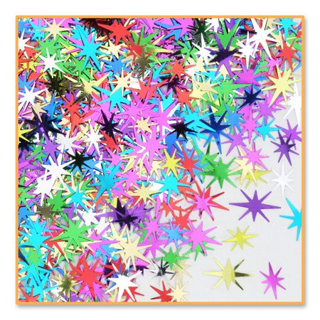 Pack of 6 Metallic Multi-Colored Starburst New Years Celebration Confetti Bags 0.5 oz.](Colored Confetti)