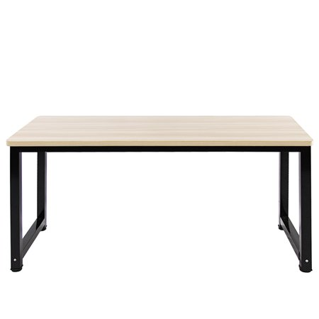 DL furniture - Professional Office Desk Wood & Steel Table Modern Plain Lap Desk with Rectangular Legs Computer Desk Personal Working Space - White Wood Tone | Thick Desktop Length 47.3