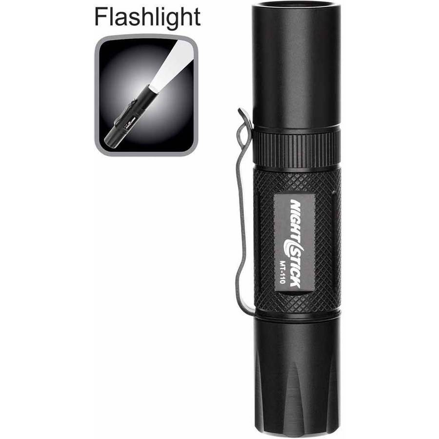 """Nightstick MT-110 Mini-TAC Metal LED Flashlight, 1 AA, 3.9"""", Black"""