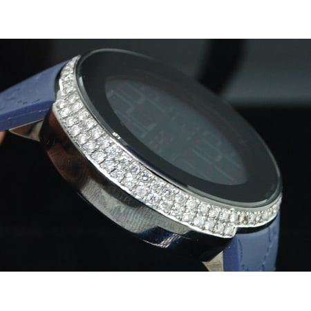 Gucci Diamond Watch YA114208 Custom Half Case Digital Blue Band Genuine 2.5 Ct (Gucci Watch Case)