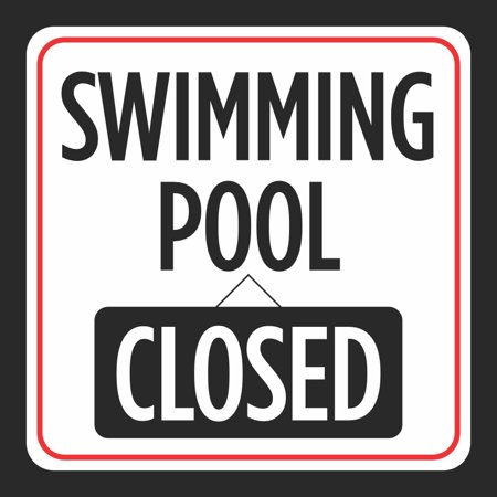 Swimming Pool Closed Picture Print Red White Black Caution Notice ...