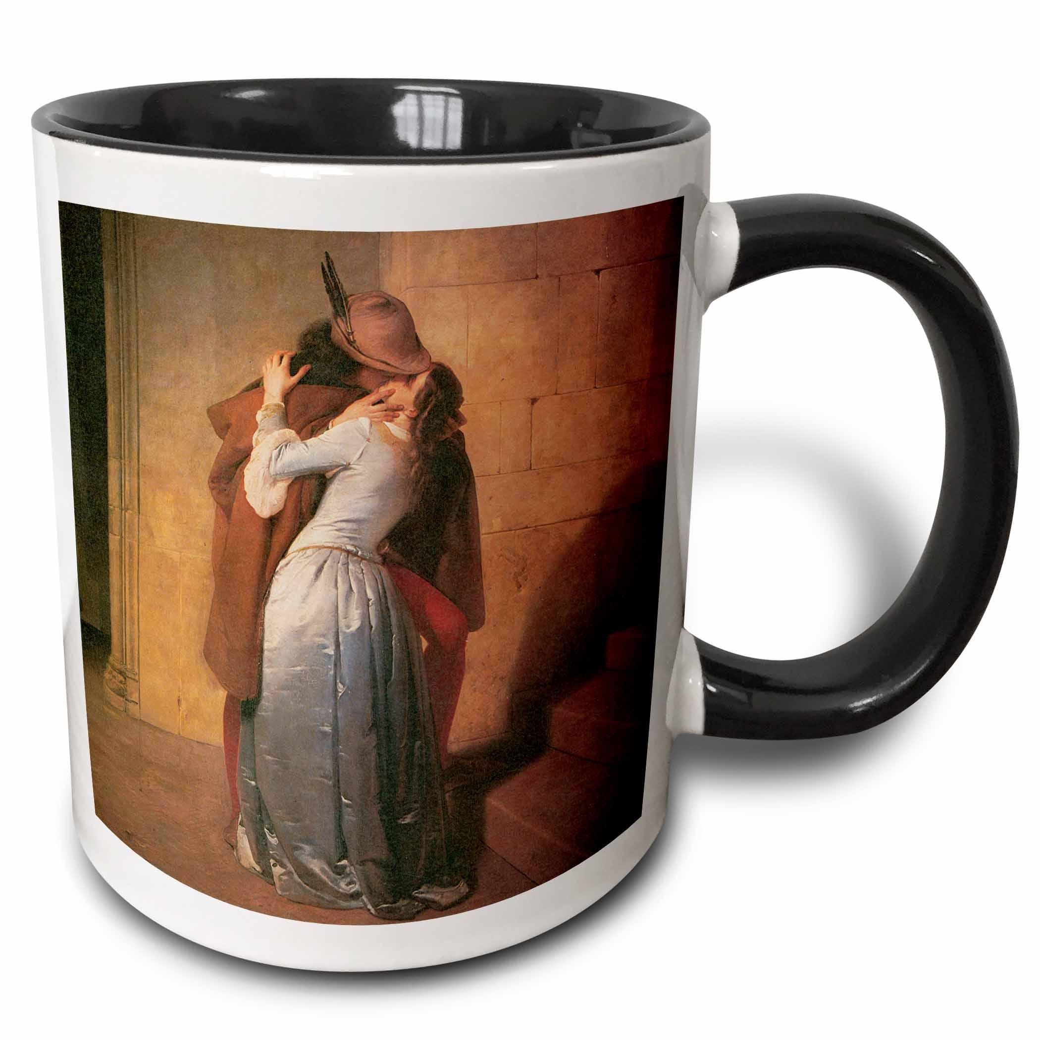 3drose The Kiss By Francesco Hayez Two Tone Black Mug