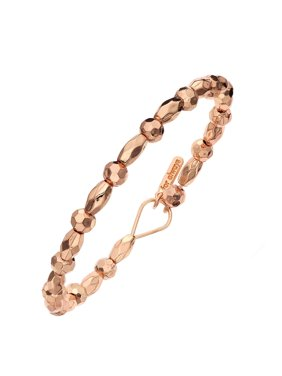 X & O 14KT Rose Gold Plated Rosette and Faceted Oval Beaded Braclet